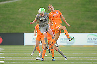 Joanna Lohman (17) of the Philadelphia Independence and Yael Averbuch (13) of Sky Blue FC go up for a header. The Philadelphia Independence defeated Sky Blue FC 2-1 during a Women's Professional Soccer (WPS) match at John A. Farrell Stadium in West Chester, PA, on June 6, 2010.