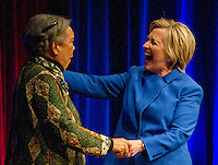 Democratic Presidential candidate Hillary Clinton, right, is welcomed by Children's Defense Fund President and Founder Marion Wright Edelman, left, as she arrives to make remarks at the Children's Defense Fund Beat the Odds Celebration at the Newseum in Washington, DC on Wednesday, November 16, 2016.  This is Secretary Clinton's first public appearance since she conceded the election to Donald Trump. Photo Credit: Ron Sachs/CNP/AdMedia