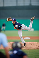 Charlotte Stone Crabs starting pitcher Brock Burke (17) delivers a pitch during a game against the Palm Beach Cardinals on July 23, 2017 at Roger Dean Stadium in Palm Beach, Florida.  Charlotte defeated Palm Beach 3-0.  (Mike Janes/Four Seam Images)