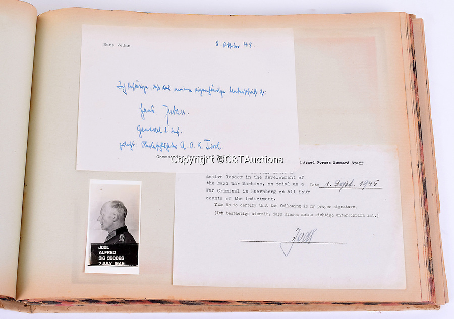 BNPS.co.uk (01202 558833)<br /> Pic: C&TAuctions/BNPS<br /> <br /> Alfred Jodl - He signed the unconditional surrender of the Third Reich in 1945.<br /> <br /> A unique album of mugshots and signatures that helped bring scores of Nazi war criminals to justice has been unearthed more than 70 years later.<br /> <br /> The gallery that is like a Who's Who of Hitler's henchmen involved in the Holocaust was assembled by an Allied intelligence officer whose job was to interrogate the monsters.<br /> <br /> A vital part of the questioning was to get them to provide an authentic signature to compare it with handwriting of Nazi officials who signed off orders for war atrocities.<br /> <br /> The album is being sold at C&T Auctioneers of Ashford, Kent, on September 7.
