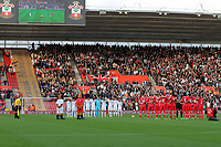 Saturday 10 November 2012<br /> Pictured: A minute's silence observed by Swansea (white) and Southampton (red) players before kick off<br /> Re: Barclay's Premier League, Southampton FC v Swansea City FC at St Mary's Stadium, Southampton, UK.