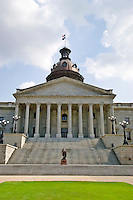 Front of the South Carolina State Capitol building, in Columbia, South Carolina.  Statue of George Washington on the front steps.