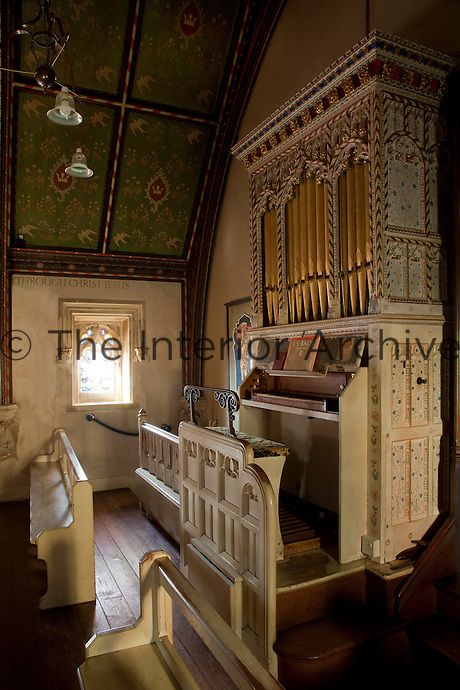 The chapel was commissioned in 1902 as a wedding present from the wife of the seventh earl to her husband. The organ was made by Malvern builder John Nicholson and painted by Henry Payne