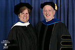 Honorary degree recipient Sister Margaret Mary Fitzpatrick, S.C., president and CEO of St. Thomas Aquinas College in New York, left, and Paul Zionts, dean of the College of Education. DePaul University College of Education held its commencement ceremony, Saturday, June 10, 2017, at the Rosemont Theatre in Rosemont, IL. The Rev. Dennis H. Holtschneider, C.M., president of DePaul, conferred the degrees. (DePaul University/Jeff Carrion)