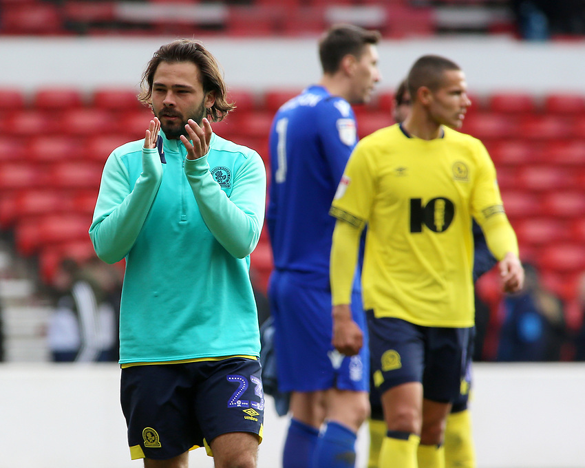Blackburn Rovers' Bradley Dack applauds the fans at the final whistle <br /> <br /> Photographer David Shipman/CameraSport<br /> <br /> The EFL Sky Bet Championship - Nottingham Forest v Blackburn Rovers - Saturday 13th April 2019 - The City Ground - Nottingham<br /> <br /> World Copyright © 2019 CameraSport. All rights reserved. 43 Linden Ave. Countesthorpe. Leicester. England. LE8 5PG - Tel: +44 (0) 116 277 4147 - admin@camerasport.com - www.camerasport.com