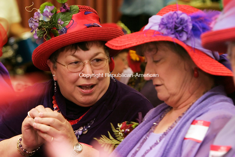HARWINTON, CT - 07 OCTOBER 2005 -100705JS10--Bonnie Mazzaferro of Harwinton, a member of the Red Hat Quilters of Connecticut, left, talks with her groups 'Queen Mother' Gloria Howell of New Hartford, right, during the Red Hat Society's rally at the Harwinton Senior Center on Friday. The second annual event was held by the Gad-About Chapter of the Red Hat Society of Harwinton.     --Jim Shannon / Republican-American  --Bonnie Mazzaferro; Gloria Howell, Red Hat Society, Harwinton. are CQ
