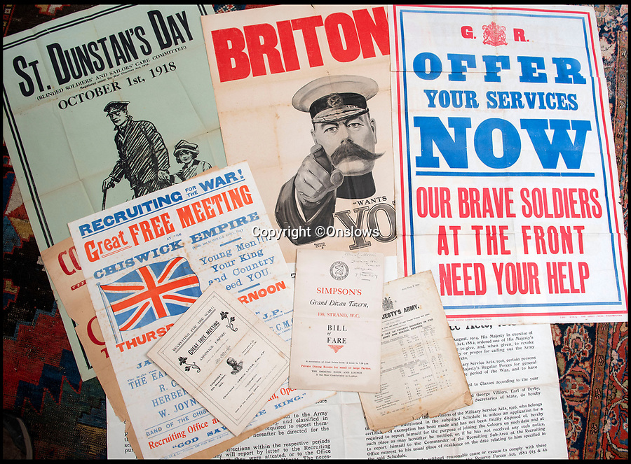 BNPS.co.uk (01202 558833)<br /> Pic: Onslows/BNPS<br /> <br /> The poster was found amongst other emphemera from the first war.<br /> <br /> Cash in the Attic! - Iconic £15,000 Kitchener poster rediscovered.<br /> <br /> A super-rare Lord Kitchener recruitment poster has been discovered amongst a timecapsule box of ephemera from the Great War uncovered in a Cumbrian attic.<br /> <br /> Bizarrely, despite its iconic status, only five other original copies of the poster are known to still survive making this find incredibly valuable.<br /> <br /> It was found folded up in a box by an elderly gentleman who was going through his late wife's possessions.<br /> <br /> Also found was a 1917 menu to upmarket restaurant Simpsons in the Strand that reveals the wartime rationing was even starting to affect the upper classes. with 'meat free days' and a shortage of 'saddles of mutton'.<br /> <br /> Patrick Bogue of poster specialists Onslows Auctions said 'It's a real Howard Carter moment, it's incredible how something so familiar is actually so rare'.