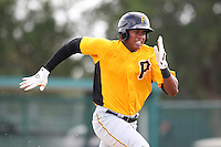 GCL Pirates outfielder Willy Garcia #3 runs to first during a game against the GCL Braves at Disney Wide World of Sports on June 25, 2011 in Kissimmee, Florida.  The Pirates defeated the Braves 5-4 in ten innings.  (Mike Janes/Four Seam Images)