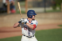 Hogan Windish (21) (UNCG) of the High Point-Thomasville HiToms at bat against the Martinsville Mustangs at Finch Field on July 26, 2020 in Thomasville, NC.  The HiToms defeated the Mustangs 8-5. (Brian Westerholt/Four Seam Images)