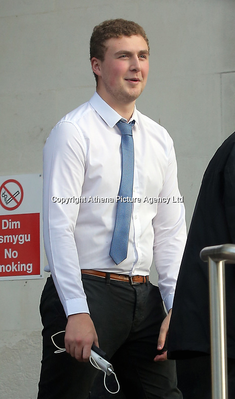 Pictured: Tom Crouch, a victim of Nadine May leaves Swansea Crown Court.<br /> Re: Piano teacher Nadine May for who defrauded her piano students of fake examination fees, on trial at Swansea Crown Court, Wales, UK.