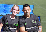 "Professional League soccer player Aimee Stopera poses with All My Children's Mark Consuelos participates at the ""Kicking It"" at the Annual Tribeca/NYFEST Soccer Day Celebrity Exhibition on April 21, 2012 - NYFEST (which stands for New York Film and Entertainment Soccer Tournament) was designed to mesh the worlds of entertainment, soccer and New York City in conjunction with the Tribeca Film Festival. The day included a film and entertainment industry tournament with 44 teams with one winner the Grassrootsoccer team which Mark Consuelos played on was cofounded by Survivor winner Ethan Zohn. The all-day event took place at Pier 40 in Manhattan, and consisted of an industry tournament, a youth showcase, and a celebrity soccer tournament.  (Photo by Sue Coflin/Max Photos)"