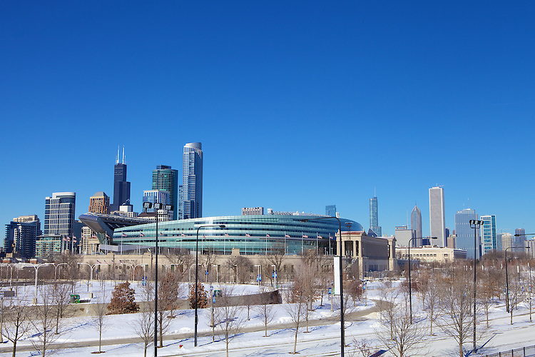 Chicago's Soldier Field looms in the foreground of a chilly skyline January, 2014. Photo by Jeff Carrion