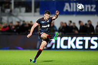 Owen Farrell of Saracens kicks for the posts. European Rugby Champions Cup match, between Saracens and the Scarlets on October 22, 2016 at Allianz Park in London, England. Photo by: Patrick Khachfe / JMP