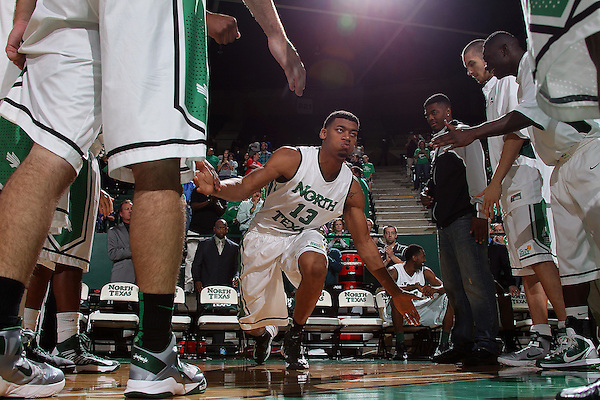 Denton, TX - DECEMBER 1: Tony Mitchell #13 of the North Texas Mean Green during introductions before the game against the Louisiana Lafayette Ragin Cajuns at the Super Pit in Denton, TX on December 1, 2012 in Denton, Texas. (Photo by Rick Yeatts)