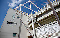 The sun shines outside the Liberty Stadium before the Barclays Premier League match between Swansea City and Manchester City played at The Liberty Stadium, Swansea on 15th May 2016