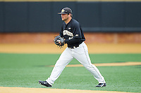 Wake Forest Demon Deacons second baseman Nate Mondou (10) on defense against the Florida State Seminoles at Wake Forest Baseball Park on April 19, 2014 in Winston-Salem, North Carolina.  The Seminoles defeated the Demon Deacons 4-3 in 13 innings.  (Brian Westerholt/Four Seam Images)