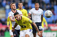 Bolton Wanderers' Craig Noone is held off by Blackburn Rovers' Derrick Williams<br /> <br /> Photographer Andrew Kearns/CameraSport<br /> <br /> The EFL Sky Bet Championship - Bolton Wanderers v Blackburn Rovers - Saturday 6th October 2018 - University of Bolton Stadium - Bolton<br /> World Copyright © 2018 CameraSport. All rights reserved. 43 Linden Ave. Countesthorpe. Leicester. England. LE8 5PG - Tel: +44 (0) 116 277 4147 - admin@camerasport.com - www.camerasport.com