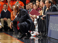 Virginia Tech head coach James Johnson reacts to a play during the game Tuesday in Charlottesville, VA. Virginia defeated Virginia Tech73-55.