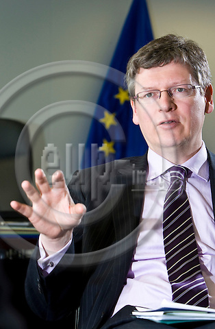BRUSSELS - BELGIUM - 04 MAY 2010 -- Interview with EU-Commissioner László (Laszlo) ANDOR, in charge of Employment, Social Affairs and Inclusion.  -- PHOTO: Juha ROININEN / EUP-IMAGES