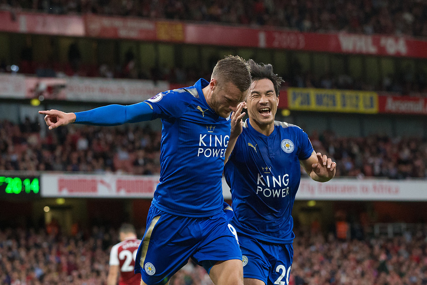 Leicester City's Jamie Vardy celebrates with Shinji Okazaki after scoring his sides second goal <br /> <br /> Photographer Craig Mercer/CameraSport<br /> <br /> The Premier League - Arsenal v Leicester City - Friday 11th August 2017 - Emirates Stadium - London<br /> <br /> World Copyright &copy; 2017 CameraSport. All rights reserved. 43 Linden Ave. Countesthorpe. Leicester. England. LE8 5PG - Tel: +44 (0) 116 277 4147 - admin@camerasport.com - www.camerasport.com