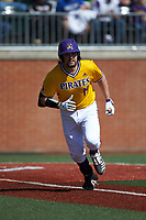 Alec Burleson (19) of the East Carolina Pirates hustles down the first base line against the Charlotte 49ers at Hayes Stadium on March 8, 2020 in Charlotte, North Carolina. The Pirates defeated the 49ers 4-1. (Brian Westerholt/Four Seam Images)