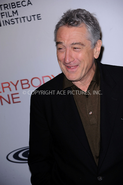 WWW.ACEPIXS.COM . . . . . ....December 3 2009, New York City....Robert De Niro arriving at the Tribeca Film Institute benefit screening of 'Everybody's Fine' at AMC Lincoln Square on December 3, 2009 in New YorkCity ....Please byline: KRISTIN CALLAHAN - ACEPIXS.COM.. . . . . . ..Ace Pictures, Inc:  ..(212) 243-8787 or (646) 679 0430..e-mail: picturedesk@acepixs.com..web: http://www.acepixs.com