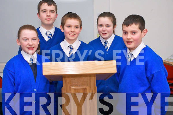 Scoil Treasa Naofa in Kilflynn who took part in the Kerry Schools debating league finals in Tralee last week. .L-R Sinead Coleman, Eamon Rohan, Darragh O'Donoghue, Sarah Corkery and Aodhan McKenna.