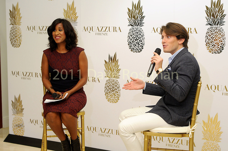 The Houston Chronicle's Joy Sewing and shoe designer Edgardo Osorio at a Dress for Dinner event at Saks Fifth Avenue Wednesday Oct. 28, 2015.(Dave Rossman photo)