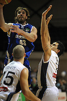 Saints forward Casey Frank lays a shot up. NBL Semifinal - Wellington Saints v Nelson Giants at TSB Bank Arena, Wellington, New Zealand on Friday, 15 July 2011. Photo: Dave Lintott / lintottphoto.co.nz