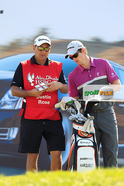 Justin Rose (ENG) waits on the 7th tee during Sunday's Final Round  of the Abu Dhabi HSBC Golf Championship at Abu Dhabi Golf Club, 20th January 2013 .Photo Eoin Clarke/www.golffile.ie