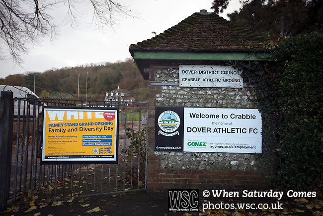 Dover Athletic 2 Cambridge United 4, 17/11/2016. The Crabble, FA Cup first round replay. Information signs outside the Crabble, pictured before National League Dover Athletic hosted League 2 Cambridge United in an FA Cup first round replay. The club was founded in 1983 after the dissolution of the town's previous club Dover FC, whose place in the Southern League was taken by the new club. Cambridge United won the tie by 4-2 after extra time, watched by a crowd of 1158. Photo by Colin McPherson.