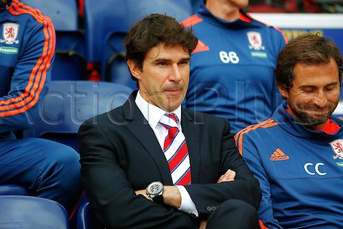09.08.2015. Preston, England. Skybet Championship. Preston versus Middlesbrough. Middlesbrough Manager and Head Coach Aitor Karanka looks on