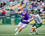 6 April 2019:  University at Albany Great Dane Midfielder Kyle Casey, a Sophomore from Yorktown Heights, NY, in action against the University of Vermont Catamounts at Virtue Field in Burlington, Vermont. The Cats rallied to defeat the Danes 10-9 in America East divisional play. Mandatory Credit: Ed Wolfstein Photo *** RAW (NEF) Image File Available ***