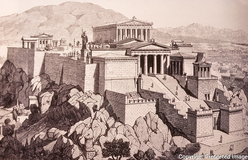 Greece: Athens--Acropolis, 5th C. BC, Reconstruction.  Athens Guidebook Engraving. Ref. only.