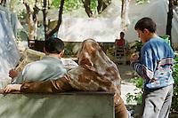 Nach dem Erdbeben im August in der Tuerkei leben tausende Menschen in Zeltlagern und Behilfszelten. Da viele Menschen nicht von ihren Haeusern weg wollen, zelten sie in Parks und auf Plaetzen, wo die hygienischen Zustaende sehr schlecht sind. Aussicht auf Besserung der Situation besteht zwei Monate nach dem Beben nicht.<br /> Hier: Eine Familie beim Zeitungslesen vor ihrem Zelt im Yaricuma-Park in Izmit.<br /> 13.10.1999, Izmit/Tuerkei<br /> Copyright: Christian-Ditsch.de<br /> [Inhaltsveraendernde Manipulation des Fotos nur nach ausdruecklicher Genehmigung des Fotografen. Vereinbarungen ueber Abtretung von Persoenlichkeitsrechten/Model Release der abgebildeten Person/Personen liegen nicht vor. NO MODEL RELEASE! Nur fuer Redaktionelle Zwecke. Don't publish without copyright Christian-Ditsch.de, Veroeffentlichung nur mit Fotografennennung, sowie gegen Honorar, MwSt. und Beleg. Konto: I N G - D i B a, IBAN DE58500105175400192269, BIC INGDDEFFXXX, Kontakt: post@christian-ditsch.de<br /> Bei der Bearbeitung der Dateiinformationen darf die Urheberkennzeichnung in den EXIF- und  IPTC-Daten nicht entfernt werden, diese sind in digitalen Medien nach §95c UrhG rechtlich geschützt. Der Urhebervermerk wird gemaess §13 UrhG verlangt.]