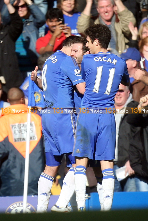 Juan Mata of Chelsea is congratulated after scoring the opening goal - Chelsea vs Brentford at the Stamford Bridge Stadium - 17/02/13 - MANDATORY CREDIT: Dave Simpson/TGSPHOTO - Self billing applies where appropriate - 0845 094 6026 - contact@tgsphoto.co.uk - NO UNPAID USE.