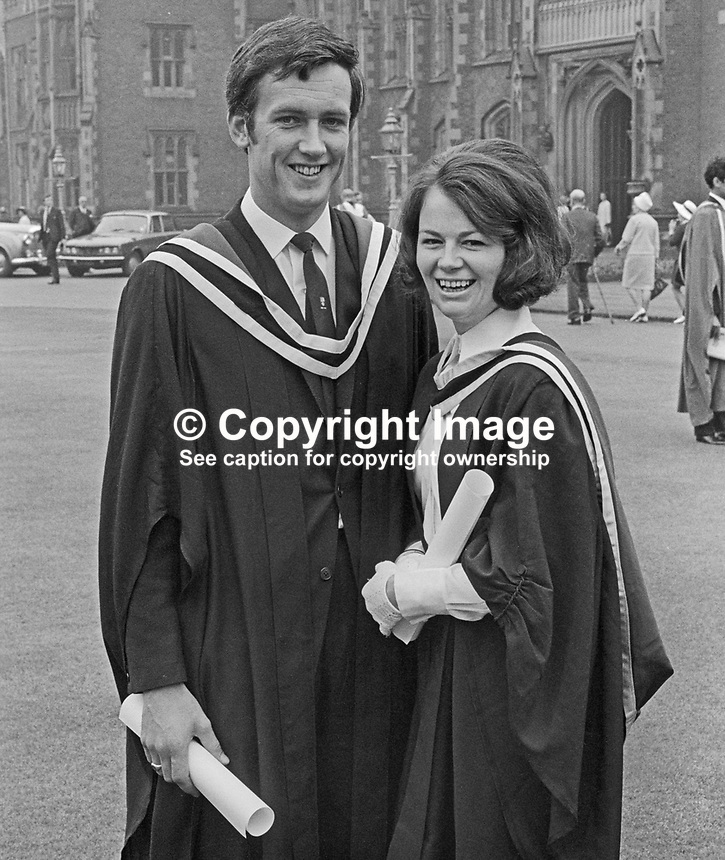 Maurice McDowell and his fiancee, Jacqueline Milligan, both from Belfast, who received BSc's at the Summer Graduation ceremony at Queen's University, Belfast, N Ireland. 197007000249b<br /> <br /> Copyright Image from Victor Patterson, 54 Dorchester Park, Belfast, UK, BT9 6RJ<br /> <br /> Tel: +44 28 9066 1296<br /> Mob: +44 7802 353836<br /> Voicemail +44 20 8816 7153<br /> Email: victorpatterson@me.com<br /> Email: victorpatterson@gmail.com<br /> <br /> IMPORTANT: My Terms and Conditions of Business are at www.victorpatterson.com