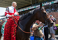 ELMONT, NY - JUNE 10: Mike Smith, aboard Songbird #5, smiles as he is led to the winner's circle after winning the Ogden Phipps Stakes on Belmont Stakes Day at Belmont Park on June 10, 2017 in Elmont, New York (Photo by Jesse Caris/Eclipse Sportswire/Getty Images)