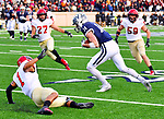 """November 23, 2019:  #14 Reed Klubnik makes one of his many clutch catches in a stunning comeback that mirrored 1968, the Yale Bulldogs defeat Harvard in double """"OT"""" 50-43.  Yale came from down 17 late in the fourth quarter, including recovering an onside kick with a minute left at the Yale Bowl in New Haven Connecticut.Dan Heary/Eclipse Sportswire/CSM"""