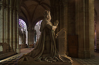 Kneeling figure of Louis XVI, from the funerary monument of Louis XVI, 1754-93, and Marie Antoinette, 1755-92, made 1830, in the Chapelle Saint-Louis, in the Basilique Saint-Denis, Paris, France. The ashes of the king were transferred here in 1815. The basilica is a large medieval 12th century Gothic abbey church and burial site of French kings from 10th - 18th centuries. Picture by Manuel Cohen