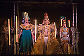 London, UK. 2 March 2016. L-R: Emma Carrington as Nefertiti, Anthony Roth Costanzo as Akhnaten and Rebecca Bottone as Queen Tye. English National Opera (ENO) dress rehearsal of the Philip Glass opera Akhnaten at the London Coliseum. 7 performances from 4  to 18 March 2016. Directed by Phelim McDermott with Anthony Roth Costanzo as Akhnaten, Emma Carrington as Nefertiti, Rebecca Bottone as Queen Tye, James Cleverton as Horemhab, Clive Bayley as Aye, Colin Judson as High Priest of Amon and Zachary James as Scribe. Skills performances by Gandini Juggling.