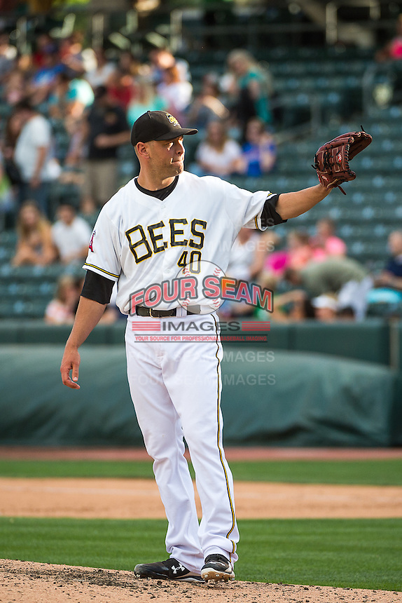 Frank Herrmann (40) of the Salt Lake Bees during the game against the Albuquerque Isotopes in Pacific Coast League action at Smith's Ballpark on June 8, 2015 in Salt Lake City, Utah.  The Bees defeated the Isotopes 10-7 in game one of a double-header.(Stephen Smith/Four Seam Images)