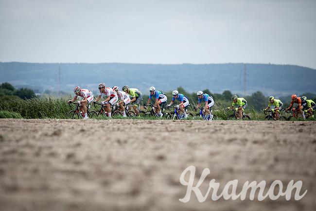 Team Corendon Circus (with Stijn Devolder (BEL)) riders pulling hard in the peloton <br /> <br /> GP Marcel Kint 2019 (BEL)<br /> One Day Race: Kortrijk – Zwevegem 188.10km. (UCI 1.1)<br /> Bingoal Cycling Cup 2019