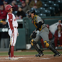 NWA Democrat-Gazette/ANDY SHUPE<br /> Arkansas shortstop Casey Martin reacts Friday, March 15, 2019, after striking out to end the second inning against Missouri at Baum-Walker Stadium in Fayetteville. Visit nwadg.com/photos to see more photographs from the game.