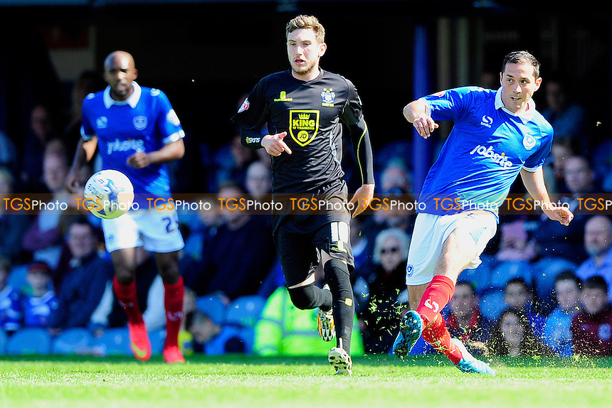 Joe Devera of Portsmouth plays a pass - Portsmouth vs Bury - Sky Bet League Two Football at Fratton Park, Portsmouth, Hampshire - 18/04/15 - MANDATORY CREDIT: Denis Murphy/TGSPHOTO - Self billing applies where appropriate - contact@tgsphoto.co.uk - NO UNPAID USE