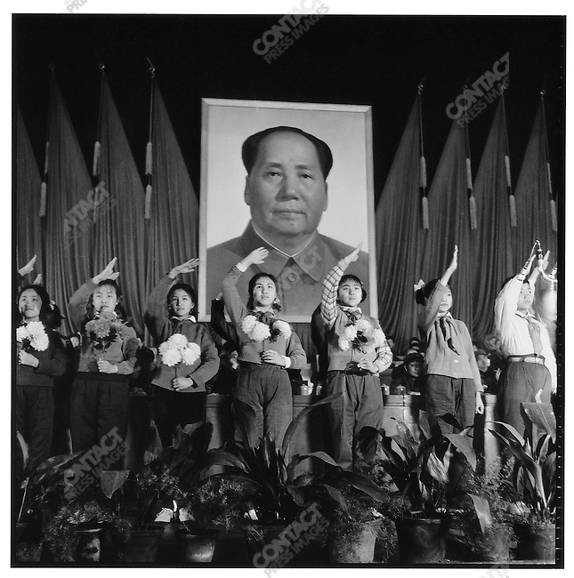 "Young pioneers in the auditorium of the North Plaza Hotel welcome representatives at ""Heilongjiang's Conference of Socialism's Advanced Work Groups and Model Workers Assembly""; Harbin, Heilongjiang Province, March 8, 1973"
