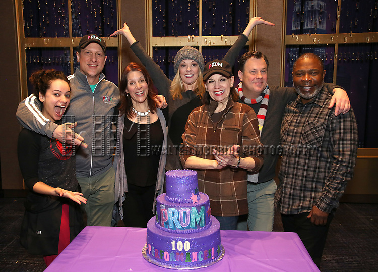 "Isabelle McCalla, Christopher Sieber, Courtenay Collins, Angie Schworer, Beth Leavel, Brooks Ashmanskas, and Michael Potts from the cast of Broadway's ""The Prom"" Celebrates 100 Performances at the Longacre Theatre on February 13, 2019 in New York City."