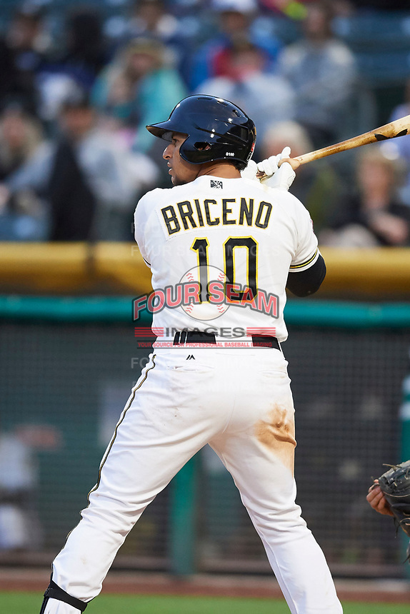Jose Briceno (10) of the Salt Lake Bees bats against the Albuquerque Isotopes at Smith's Ballpark on April 5, 2018 in Salt Lake City, Utah. Salt Lake defeated Albuquerque 9-3. (Stephen Smith/Four Seam Images)