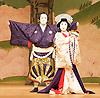 Kabuki <br /> featuring Ebizo Ichikawa XI<br /> at Sadler's Wells, London, Great Britain <br /> rehearsal <br /> 3rd June 2010 <br /> <br /> Ichikawa Ebizo (as Sato Tadanobu / the fox Genkuro)<br /> <br /> Nakamura Shibajaku (as Shizauka)<br /> Photograph by Elliott Franks