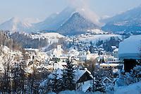 Austria, Styria, Styrian Salzkammergut, Altausseerland, Bad Aussee: Totes Gebirge mountains,  winter scenery